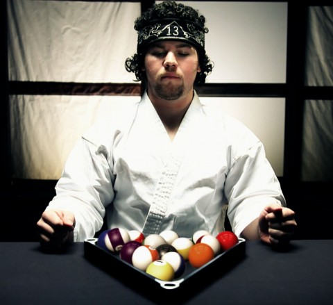 Judo master makes billiard balls fall perfectly into place in triangle. 3D animation and compositing by skytheory